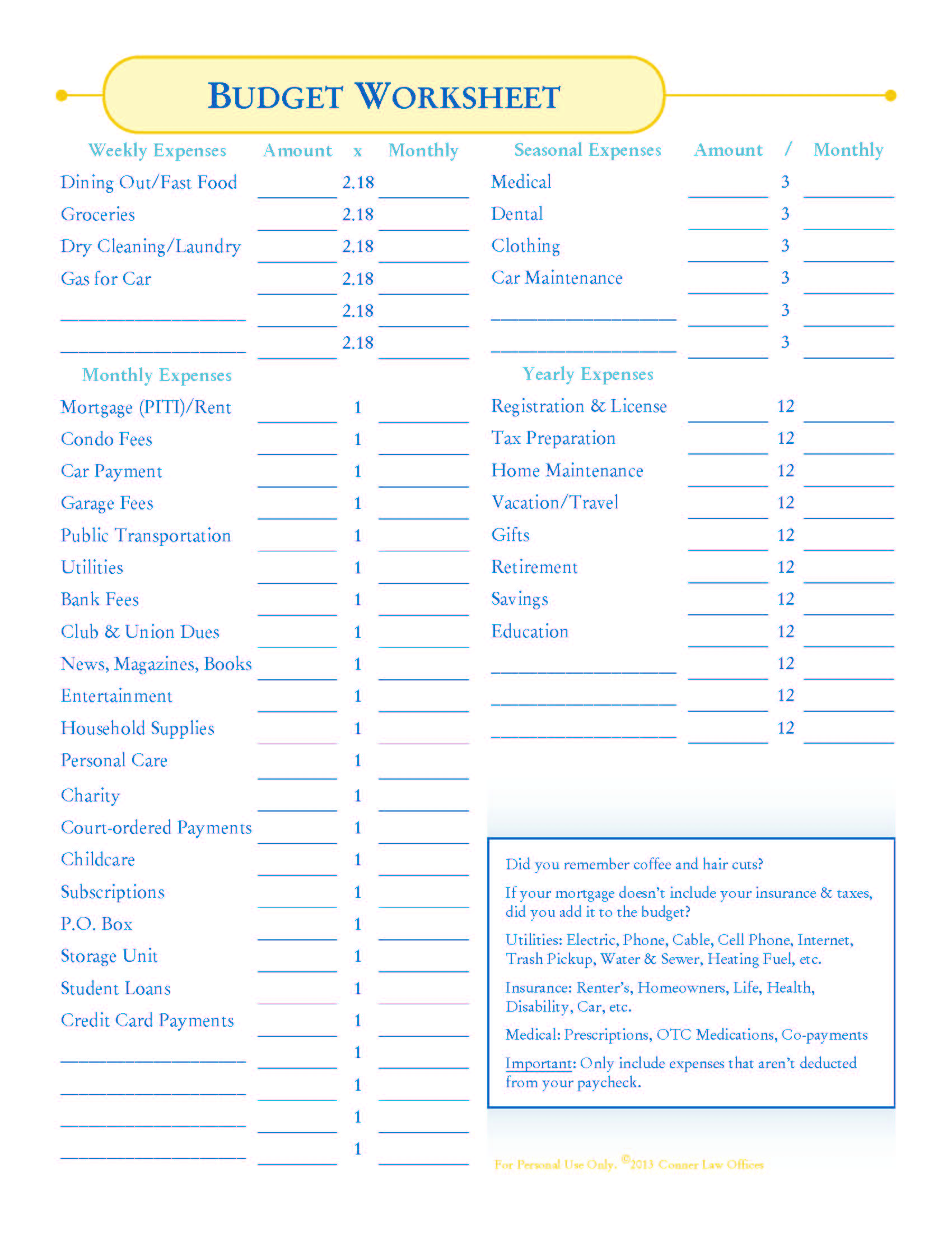 Printables Complete Budget Worksheet bankruptcy how to make a budget conner law blog worksheet